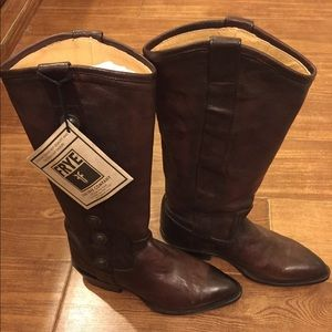 Frye NWT Leather Military Boots with Heel